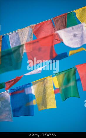 Les drapeaux de prières bouddhistes dans le ciel bleu Banque D'Images