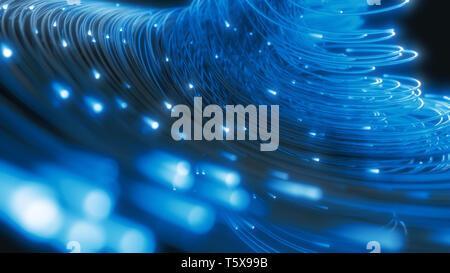 Cordes en fibre optique lumineux dans le noir. 3d illustration Banque D'Images