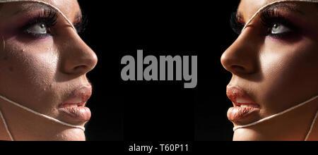 Femme avant et après la Retouche beauté, femme, avant après transformation, Portrait comparaison avec make-up Banque D'Images
