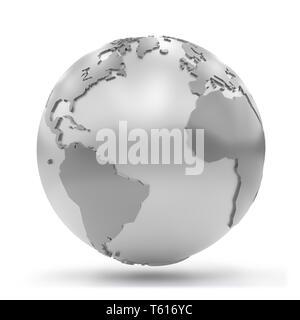 La masse argentée stylisée montrant l'Afrique, Europe, Amérique du Nord et en Amérique du Sud (3d illustration isolé sur fond blanc) Banque D'Images