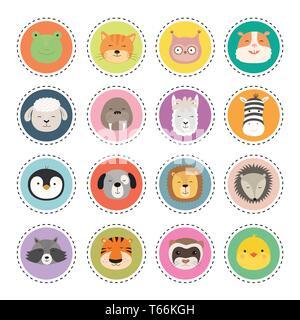 Animal mignon set autocollants visages. Vector Illustration Banque D'Images