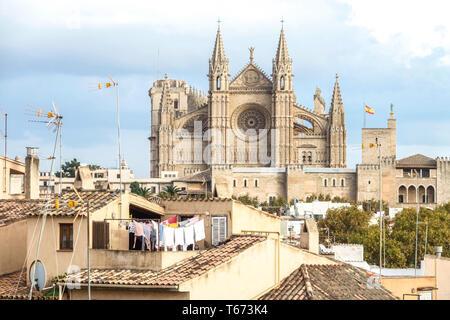 Paysage urbain, la cathédrale catholique de style gothique médiéval La Seu avec blanchisserie lavé et séché sur le toit, Palma de Mallorca Espagne Europe Banque D'Images