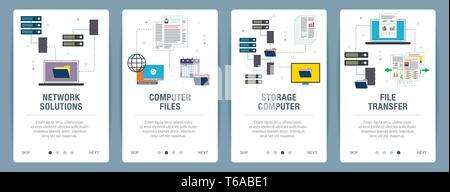 Vector set de bannières web vertical avec Network Solutions, fichiers informatiques, de stockage et de transfert de fichiers de l'ordinateur. Vector Modèle de page pour le site web et Banque D'Images