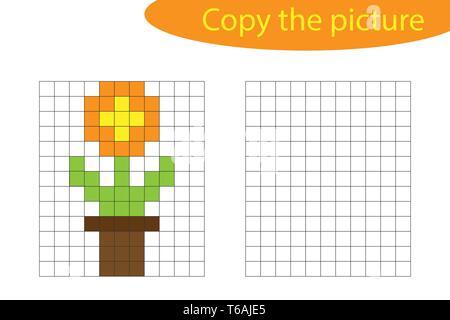 Pot De Fleurs Dans Lart Du Pixel 8 Bits Vector Illustration