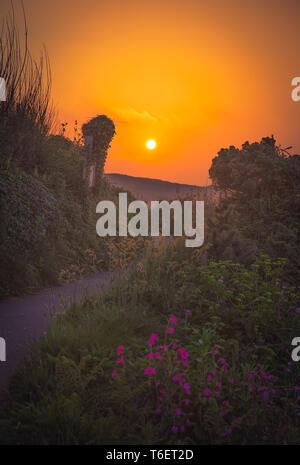 Sentier de randonnée le long de la côte de Cornouailles au coucher du soleil Banque D'Images