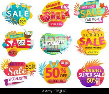 Grand jeu de l'été vente et promotions autocollants. Banque D'Images