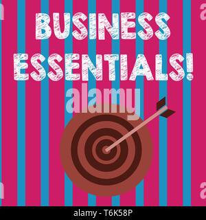 L'écriture de texte Word Business Essentials. Photo d'entreprise présentant d'importantes idées clés pour améliorer les compétences en affaires dans la région de Dart 501 w Style concentriques Banque D'Images
