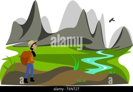 Portrait de femme hiker dans une chemise orange et pantalon bleu porte un grand sac à dos est brun tout en admirant le paysage autour de la montagne vector Banque D'Images