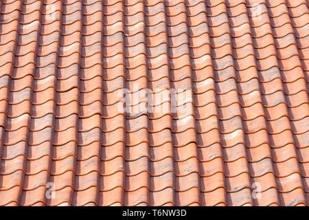 Toit de tuiles orange background Banque D'Images