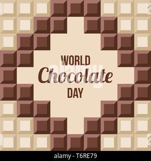 Journée mondial du chocolat.11 juillet. Сhocolate bars avec texte à l'intérieur. De conception ancienne, bannière, carte de vœux. Arrière-plan transparent. Vector illustration couleur Banque D'Images
