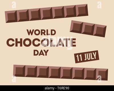 Journée mondial du chocolat.11 juillet. Сhocolate bars avec texte. De conception ancienne, bannière, carte de vœux. Vector illustration couleur. Banque D'Images