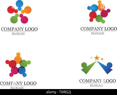 Les gens se soucient de la communauté et des symboles logo template Banque D'Images