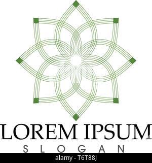 Logo vert feuille nature symbole et vecteur modèle Banque D'Images