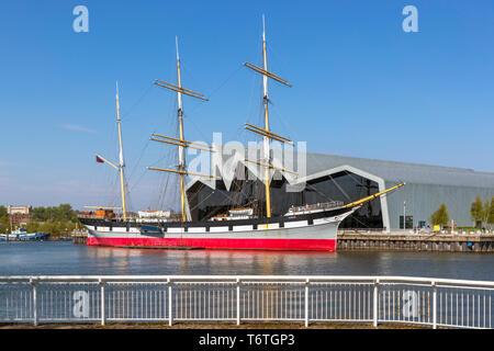 Tall Ship Glenlee, construit en 1896, un trois-mâts barque, à quai maintenant sur la rivière Clyde à la Riverside transport museum, Glasgow, Ecosse, Royaume-Uni