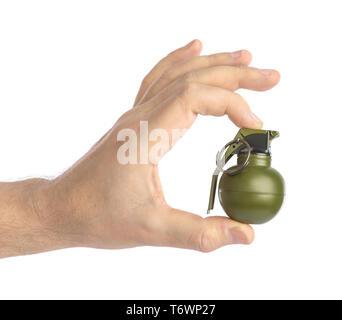 La main avec petite grenade Banque D'Images