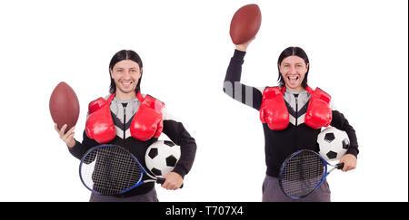 L'homme dans le sport concept isolated on white Banque D'Images