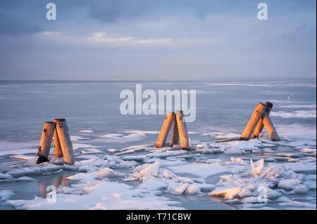 La glace sur le lac dans le Burgenland Banque D'Images
