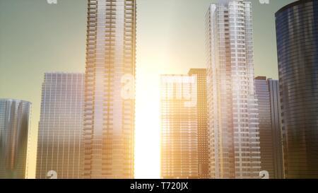 Les gratte-ciel au coucher du soleil reflétée dans windows, Bangkok Banque D'Images