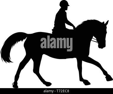 L'équitation silhouette - vector Banque D'Images