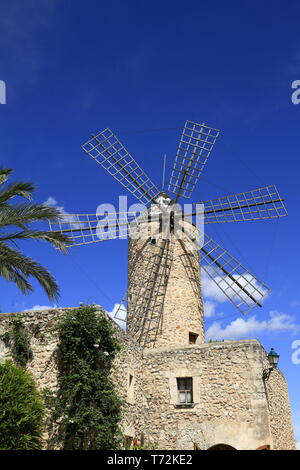 Ancien moulin à vent en Sineu, Mallorca, Espagne Banque D'Images