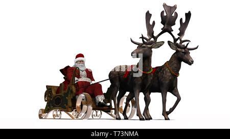 Père Noël avec traîneau et des rennes - isolé sur fond blanc