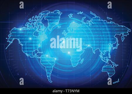 Résumé fond carte du monde chiffre binaire de la texture pour la technologie cyber concept futuriste sur le fond bleu foncé vector illustration Banque D'Images