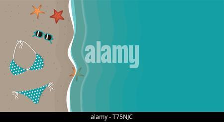 Bikini et lunettes de soleil sur une belle plage avec étoile de vector illustration EPS10 Banque D'Images