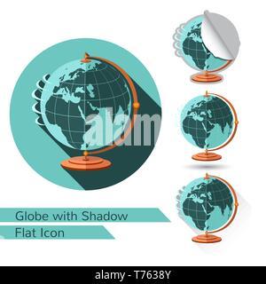 L'icône globe sur support plat isolé sur blanc avec ombre portée de l'ovale et coin plié Banque D'Images