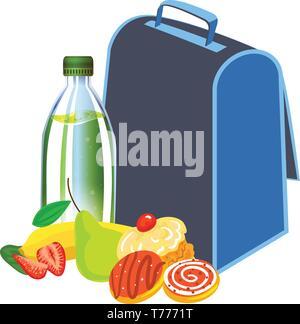 Lunch à l'école. Caricature de lunch à l'école l'icône vecteur pour la conception web isolé sur fond blanc Banque D'Images