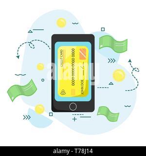 Le paiement par smartphone. Sans contact, sans fil. La technologie moderne. Télévision vector illustration Banque D'Images