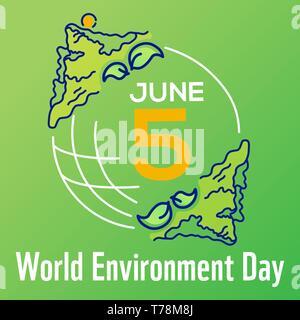 Vector2 poster la journée mondiale de l'environnement avec la ligne tirée illustration, lettrage et terre isolé sur fond vert. Bannière de site web. Banque D'Images
