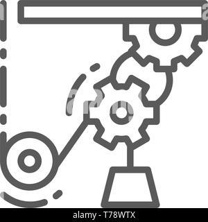 Mécanisme de levage, conduite de travail, l'icône de la ligne de grues industrielles. Banque D'Images