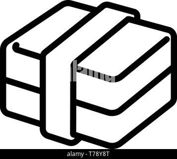 L'icône de la boîte à lunch de l'école. Contours School lunch box icône vecteur pour la conception web isolé sur fond blanc Banque D'Images
