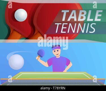 Tennis de table jeu de bannières. Cartoon vector illustration de tennis de table pour mettre la bannière web design Banque D'Images