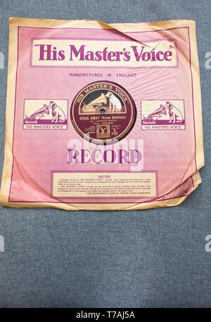 La voix de son maître avec label Voler par Paul Robeson sur un vieux 78 tours par shellac notice Banque D'Images