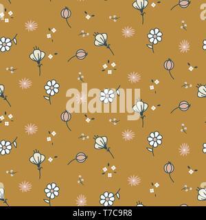 Mignon à la main couleurs pastel fleurs modèle vectoriel continu. Banque D'Images