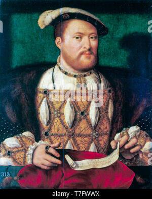 Joos van Cleve, le Roi Henry VIII d'Angleterre (1491-1547), portrait peinture, c. 1530 Banque D'Images