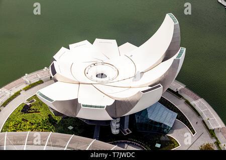 Une vue aérienne du Musée ArtScience, Singapour, en Asie du sud-est