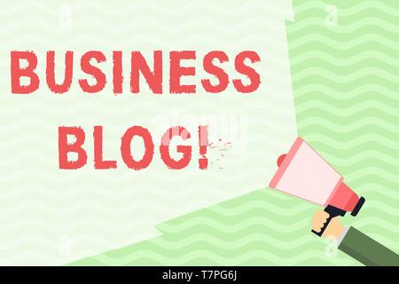 La main conceptuel montrant Business Blog. Sens Concept consacré à écrire à propos de sujets liés à la société Hand Holding Megaphone wit