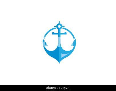 Blue anchor pour bateau et yacht logo design illustration sur fond blanc Banque D'Images