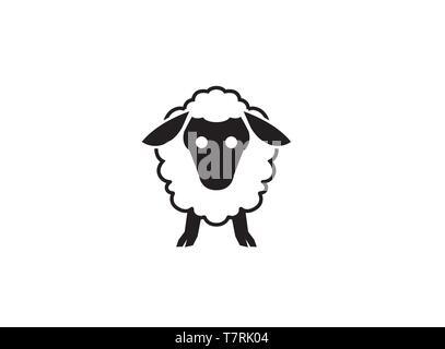 Adorable bébé mouton tête et visage mignon logo design illustration sur fond blanc Banque D'Images