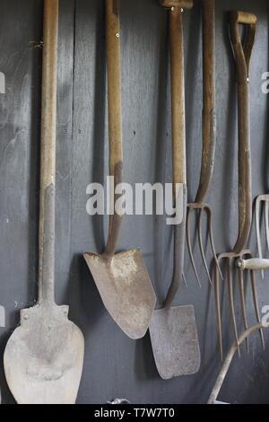 Image en couleur montrant une collection de vieux outils de jardin suspendu à un mur, y compris les bêches et fourches Banque D'Images