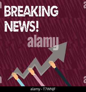 Signe texte montrant les actualités. Photo d'entreprise présentant les informations nouvellement reçues sur un événement et se produit actuellement trois mains tenant Zig colorés Banque D'Images