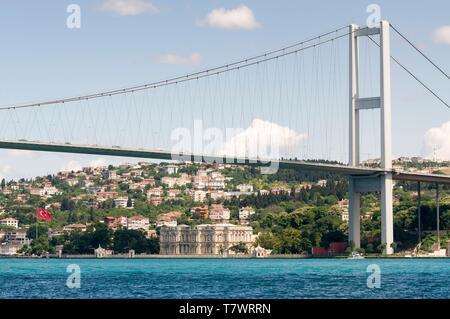 La Turquie, Istanbul, croisière sur le Bosphore, pont du Bosphore également connu sous le nom de Martyrs 15 juillet pont reliant l'Europe et l'Asie avec le Palais Beylerbeyi en arrière-plan Banque D'Images