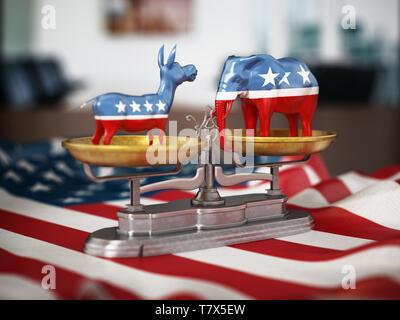Parti démocrate et républicaine les symboles politiques et de l'âne de l'éléphant sur drapeau américain. 3D illustration.