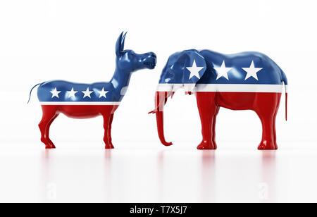 Parti démocrate et républicaine les symboles politiques et de l'éléphant d'âne. 3D illustration.