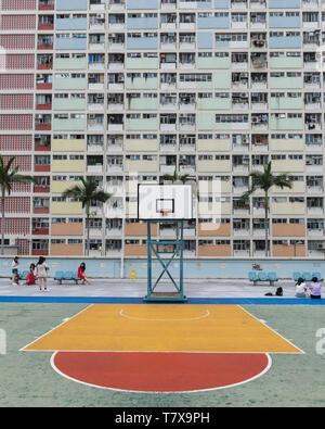 Basket-ball de Choi Hung Estate à Hong Kong. Banque D'Images
