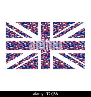 Le rouge et le bleu du drapeau Royaume-uni silhouette Banque D'Images