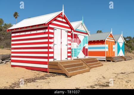 Boîtes de baignade de Brighton Beach près de Melbourne, Australie Banque D'Images