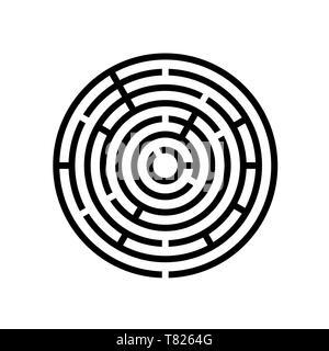 Jeu de labyrinthe labyrinthe ronde illustration vecteur EPS10 isolé sur fond blanc Banque D'Images